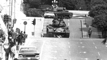 Tanks rumble through the streets of Athens, Greece, 1967