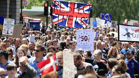 Remain supporters near Park Lane in London, as they take part in the March for Europe rally to Parli
