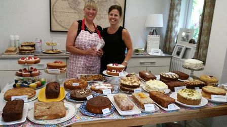 Thetford Open Gardens. Pictured are Tracy and Keeley with the cakes which were available at Sue Norm