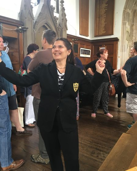 STAFF - Lorraine Campbell proving she can stil fit into her old grammer school blazer. picture: SABR