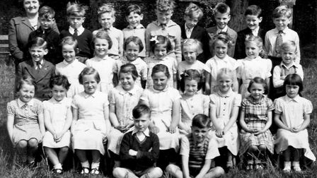 The orignal school photograph taken during the school year of 1955/6 at East Harling Primary School.