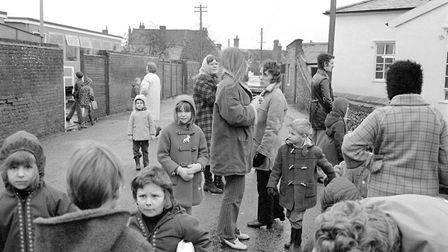 East Harling school - parents and children outside the school gates pic taken 11th jan 1972 m17588