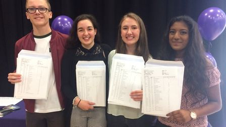 Thetford Academy students George Davis, Leigh Mortimer, Emma Hassey and Priyanka Jadhav celebrate th