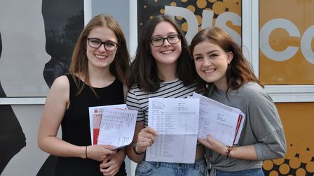 Wayland Academy students celebrate their GCSE results. Pictured are Nieve Merchant, Caitlin Malt and