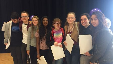 Thetford Academy students celebrate their GCSE results. Picture: Rebecca Murphy