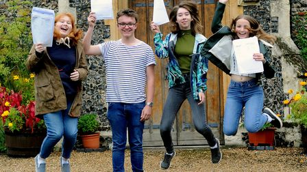 A-Level results day at Thetford Grammar SchoolRachel Brown,left, Will Honeywood, Clemency Wood and M