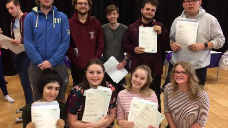 Pupils collecting their A-level results at Thetford Academy. Picture: Rebecca Murphy