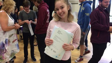 Frankie Soan collecting her results at Thetford Acedmy. She is off to Anglia Ruskin University to st
