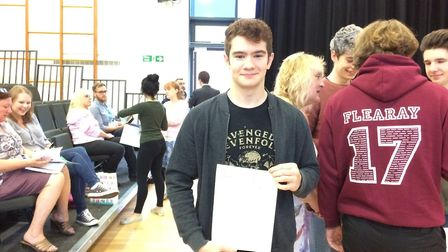 Jacob Dean collecting his results at Thetford Acedmy. After getting AAB grades, he is off to the UEA