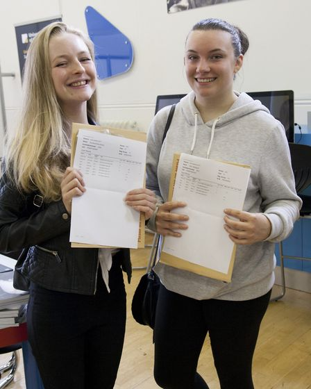 Courtnye Stares and Libby Appleyard, from Mildenhall College Academy, with their A-level results. Pi