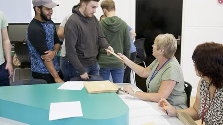 Pupils at Mildenhall College Academy finding out their A-level results. Picture: Mildenhall College