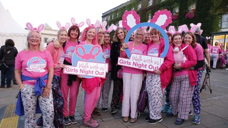 A team from St Nicholas Hospice Care taking on the Girls Night Out walk to raise money for the hospi