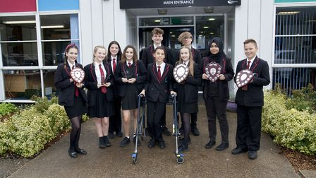 Award winners who were celebrated at Mildenhall College Academy's awards ceremony. Picture: Daniel T