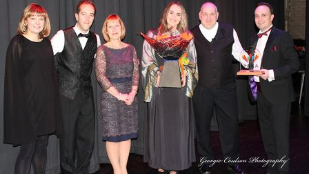 The Chilterns team picks up the business award at the TARAs, presenteed by Valerie Watson-Brown. Pic