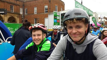 Students from Mildenhall College Academy pupils at the Tour of Britain cycle race. Picture: Mildenha