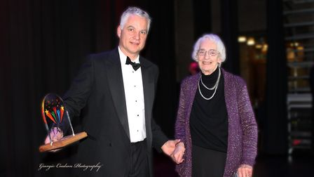 Chris Kennard presents the Lifetime Achievement award at the TARAs to Wendy Serjeant. Picture: Georg