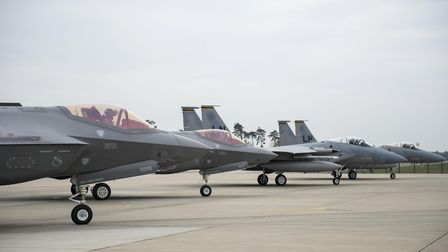 F-35A Lightning IIs from the 34th Fighter Squadron at Hill Air Force Base, Utah, and F-15C Eagles fr