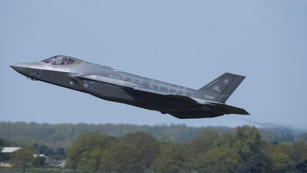 An F-35 Lightning II from the 34th Fighter Squadron at Hill Air Force Base, Utah, takes off from RAF