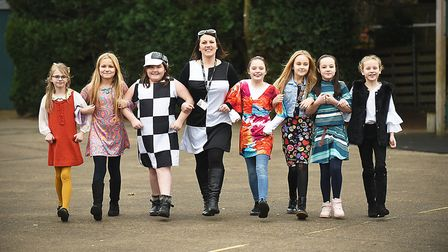 Pupils at the Redcastle Family School in Thetford dressed in 1960's clothes for the day. Picture: Ia