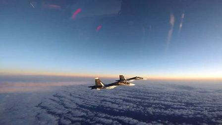 US Air Force F-15 Eagles from RAF Lakenheath intercept Russian jets over the Baltic region. Picture: