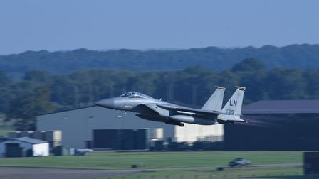 An F-15C Eagle assigned to the 493rd Fighter Squadron takes off from RAF Lakenheath. Picture: Airman