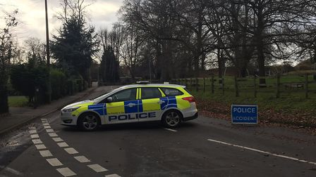 Castle Lane in Thetford has been cordoned off after winds from storm Eleanor have brought down cabl