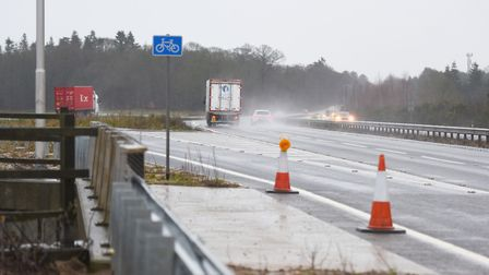 The area of the A14 eastbound at Rougham in Suffolk where a fatal collision took place on Boxing Day