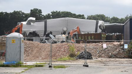 The former Thermos and Tulip building being demolished at Thetford. Picture: DENISE BRADLEY