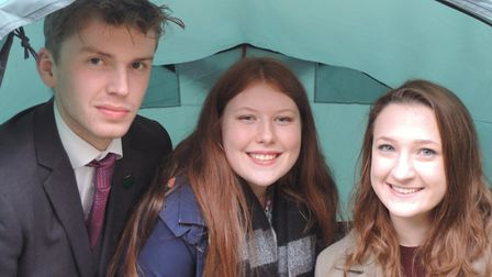Year 13 Thetford Grammar School pupils Jack, Cecily and Ellie inside one of the tents purchased fol