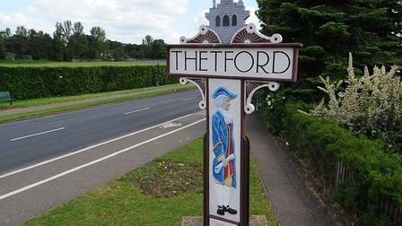Thetford town sign on London Road. Picture: Simon Parker