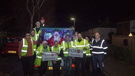 The EPIC/FAST team as they make their way around the Thetford estates with Santa. Picture: EPIC/FAST