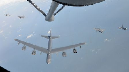 B-52 Stratofortress awaiting refuelling by a KC-135 Stratotanker from RAF Mildenhall over the North