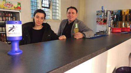 Youth organisation director Joe Barreto and his wife Carla behind the Piano Bar at the St Peter's Cu