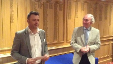 Andy Marshall's give his winner's speech at Thetford Golf Club, watched by Alan Maddy. Picture: Club