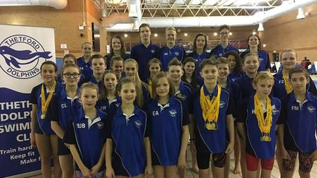 Thetford Dolphins face the camera at the Norfolk County Championships at the UEA Sportspark in Norwi