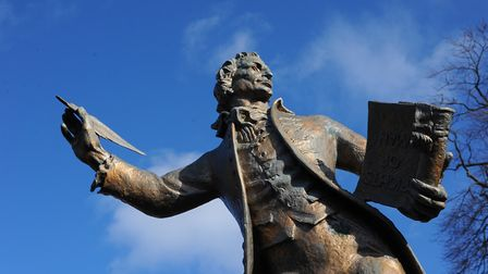 The stature of Thomas Paine on King Street in Thetford. Picture: Sonya Duncan