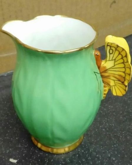 A milk jug from the butterfly-themed Aynsley pottery set which was sold by EACH on eBay. Picture: EA