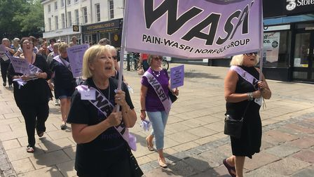 WASPI women march through Norwich city centre. Picture: Dominic Gilbert