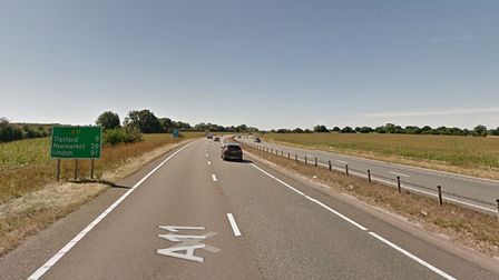 A11 southbound close to Snetterton. Picture: Google Maps