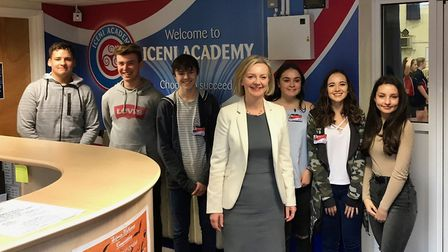 Iceni Academy pupils pictured with South West Norfolk MP Elizabeth Truss during a visit to the schoo