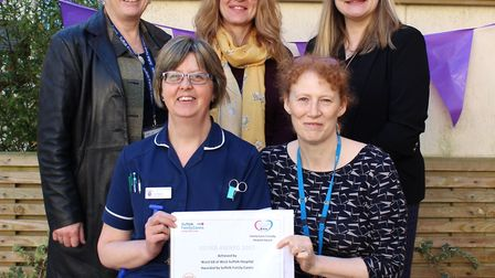 Pictured front row left to right: Jo Floyd, ward manager on ward G8, stroke ward, and Julie Fountain