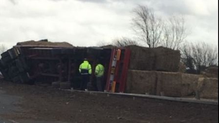The overturned lorry which is causing delays on the A11 at Larling. Picture: Gemma Moss