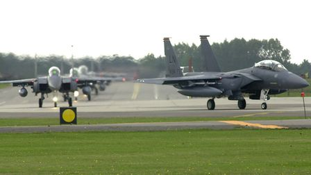 F-15s preparing to take off from RAF Lakenheath. Picture: Denise Bradley