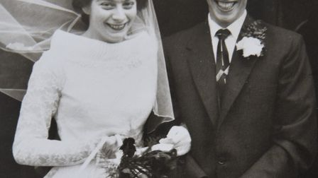 Wallance and Pearl Catchpole on their wedding day on February 15 1958. Picture: Supplied by Catchpol