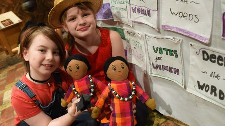 Sophia Harrison, left, and Lilly-Ann O' Connor, act out the suffrage work of the Princesses Sophia a
