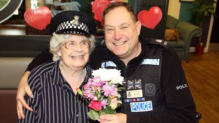Jo Bryant from Glastonbury Court gets a Valentine's surprise from PC Mark Ellis from Suffolk police.