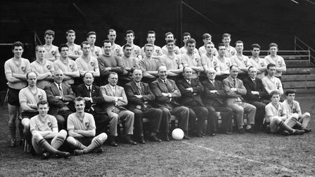 Norwich City team photograph taken in 1962, Dick Scott, back row second left, is pictured with his t