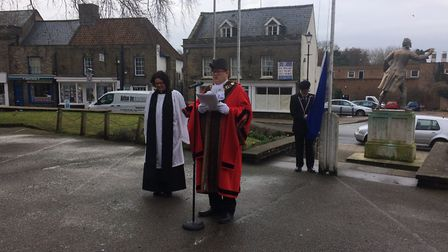 Thetford mayor Denis Crawford and the mayor chaplain the Revd Helen Jary at the Thetford Commonwealt