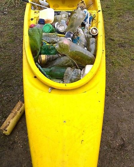 Rubbish collected from the Little Ouse River following the Brandon in Bloom litter pick. Picture: De