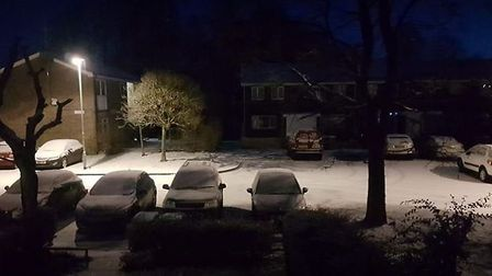 The snow in Thetford at 6am this morning. Picture: Domingos Silva